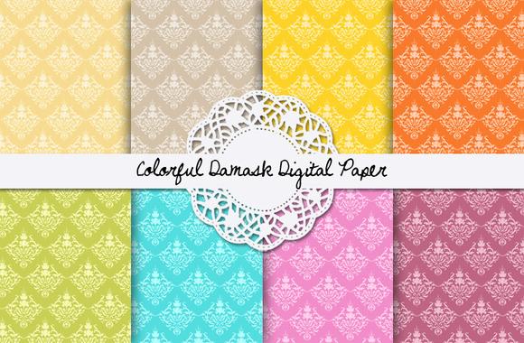 Colorful Damask Digital Paper