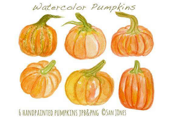 Watercolor Handpainted Pumpkins