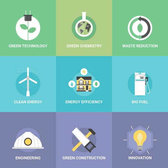 Green Technology Flat Illustrations