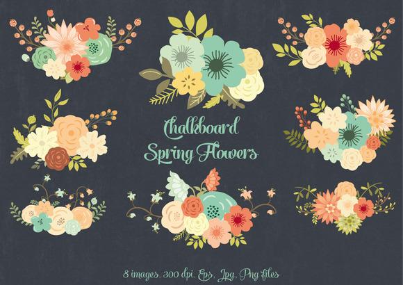 Chalkboard Spring Flowers