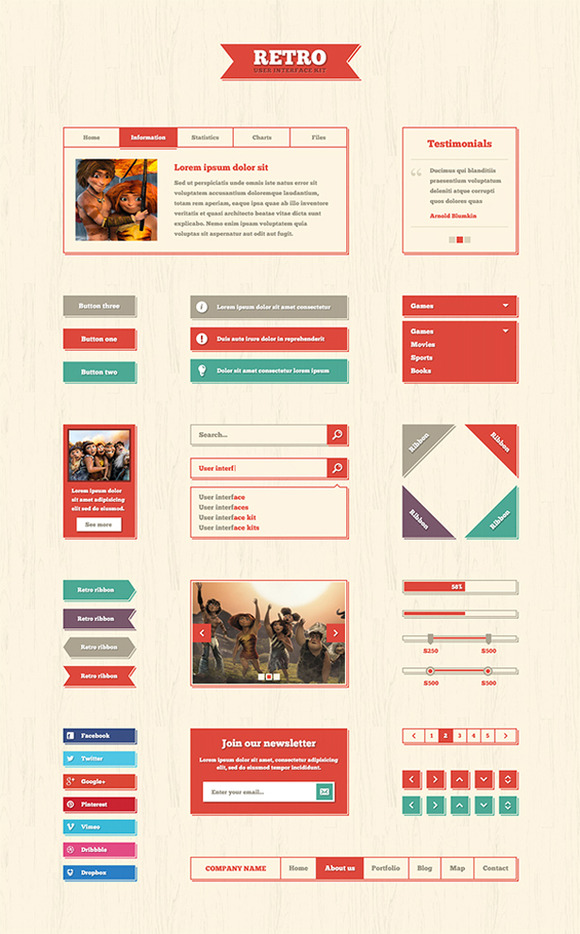 Retro Web Elements PSD