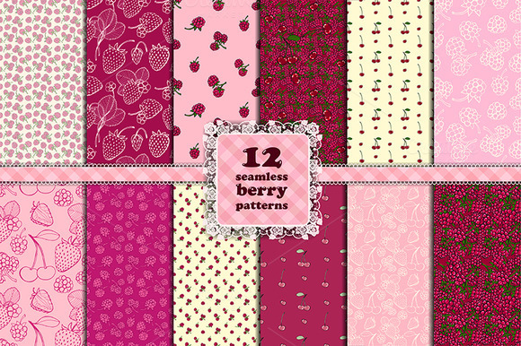 Berry Set 12 Seamless Patterns