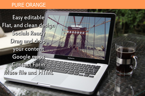 Pure Orange One Page Muse Template