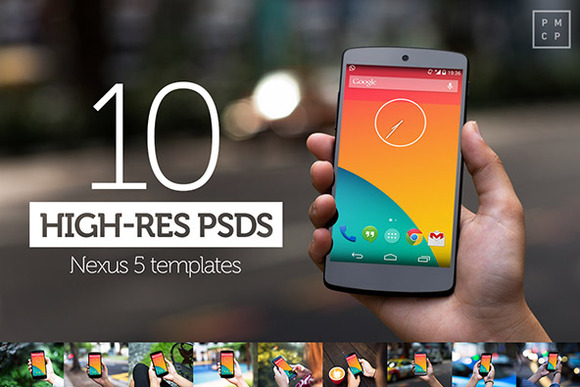 10 Nexus5 PSD Mock Ups
