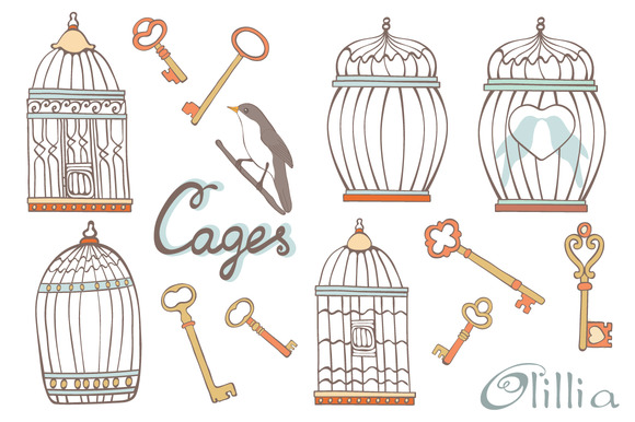 Vintage Cages And Keys Collection