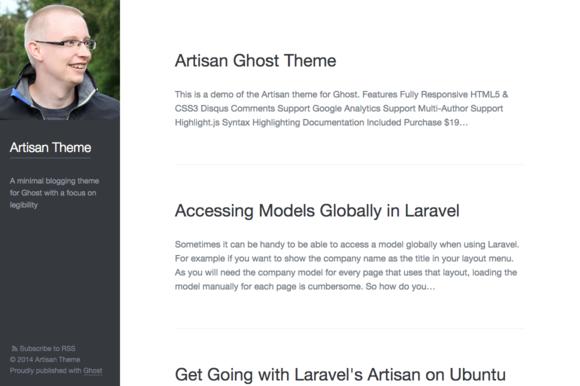 Artisan Minimal Blogging Theme