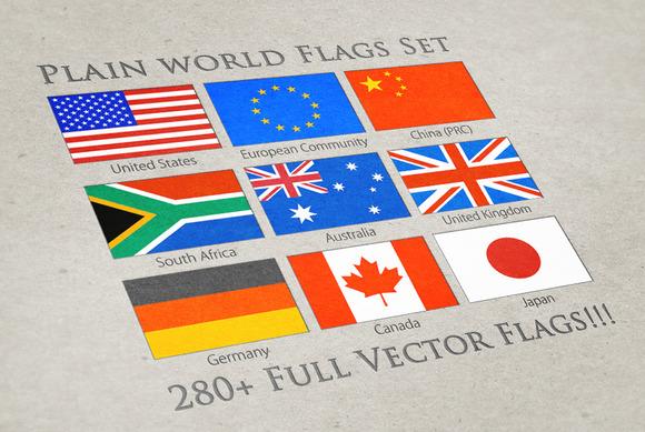 World Plain Vector Flags