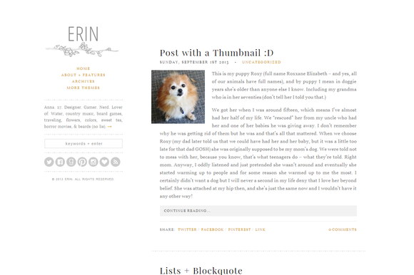 Erin An Elegant Wordpress Theme