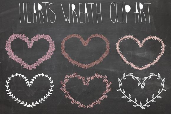 Hearts Laurel Wreath Clipart