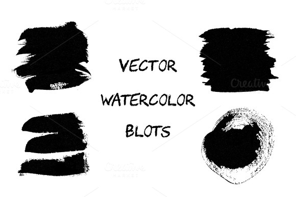 Black Vector Watercolor Blots