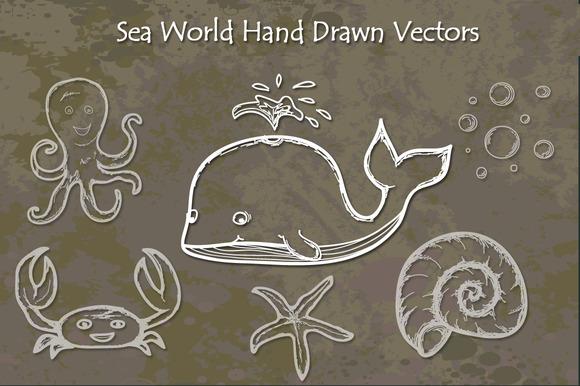 Sea World Hand Drawn Vectors