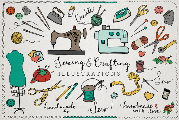 Sewing Crafting Ilustrations Pack
