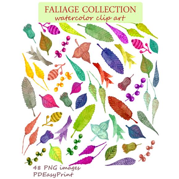 Watercolor Leaves Clipart Foliage