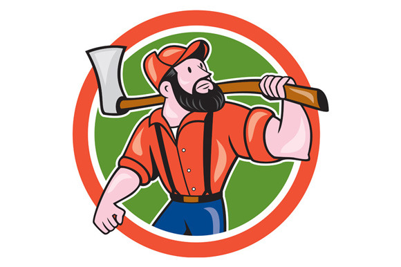 LumberJack Holding Axe Circle Cartoo