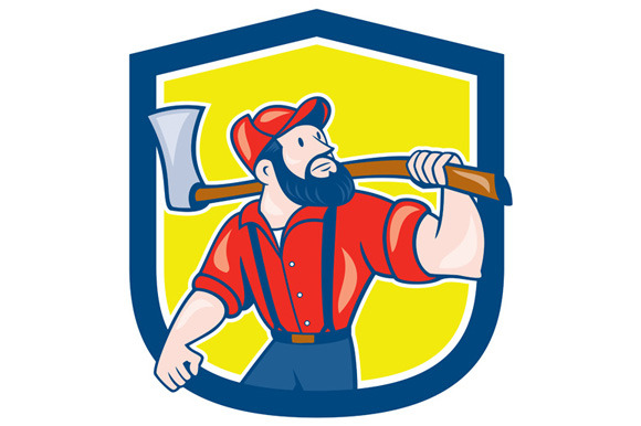 LumberJack Holding Axe Shield Cartoo