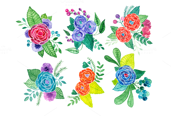 Colorful Watercolor Flowers Clip Art