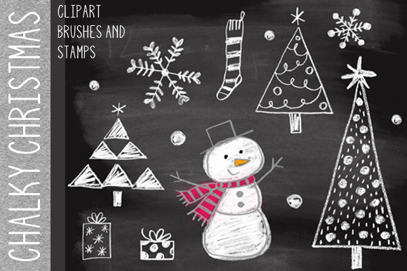 Chalky Christmas Clipart Brushes
