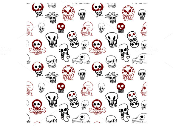 Seamless Pattern Of Many Style Of Sk