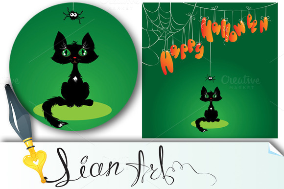 Funny Halloween Cat And Spider