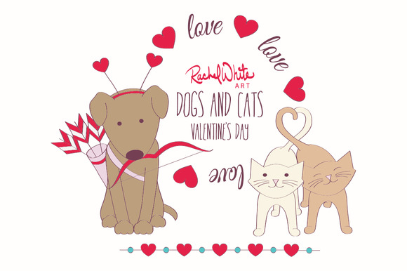 Dogs Cats Valentine S Day Vector