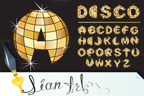 Gold Disco Ball Letters Alphabet