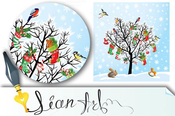 Winter Xmas Tree With Birds