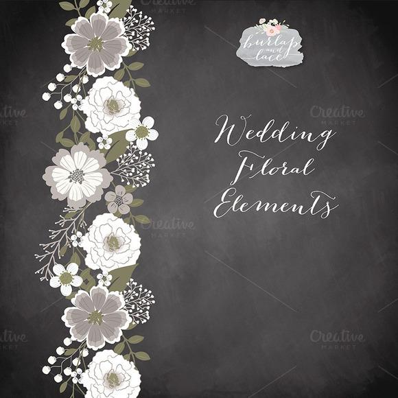 Chalkboard Rustic Flowers Clipart