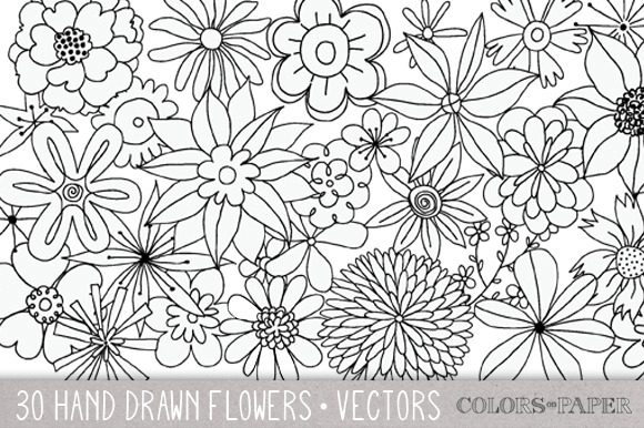 30 Hand Drawn Flowers Vector Clipart