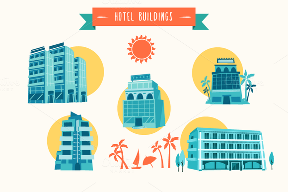 Vector Hotel Buildings
