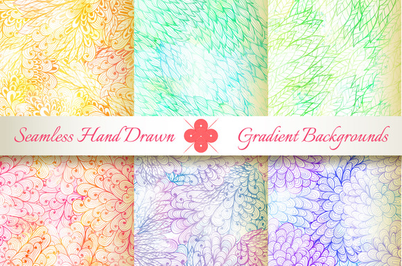 6 Seamless Gradient Florals Set#6