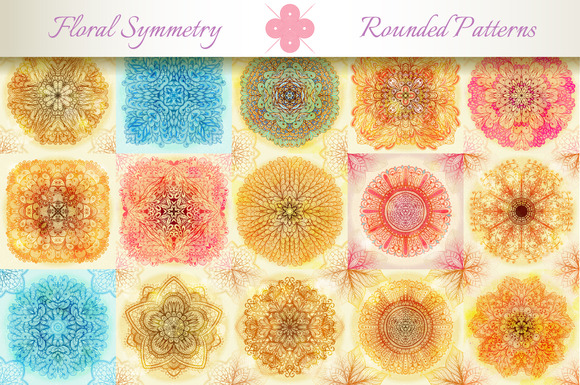 15 Floral Symmetry Patterns Set #3