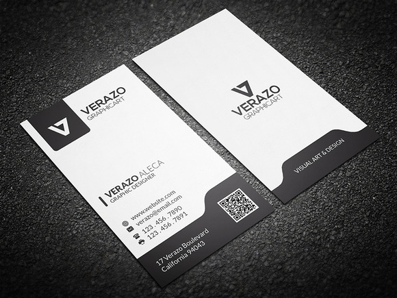 Black White Vertical Business Card