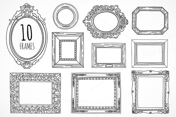 10 Hand Drawn Frames