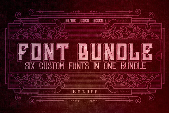6 Custom Fonts In 1 Bundle 60% OFF