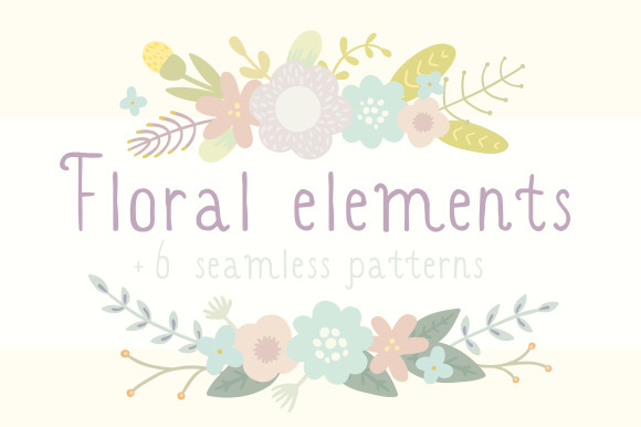 Cute Floral Elements 6 Patterns