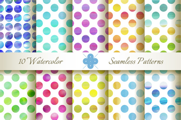 Seamless Watercolor Dotted Patterns