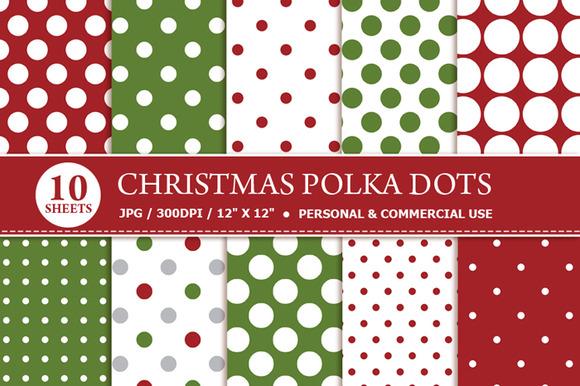 Christmas Polka Dots Digital Paper