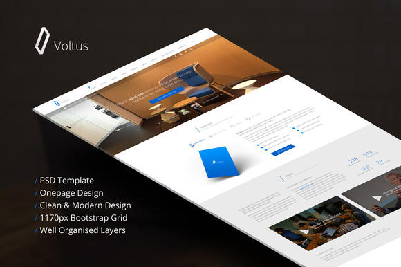 Voltus-One Page PSD Template
