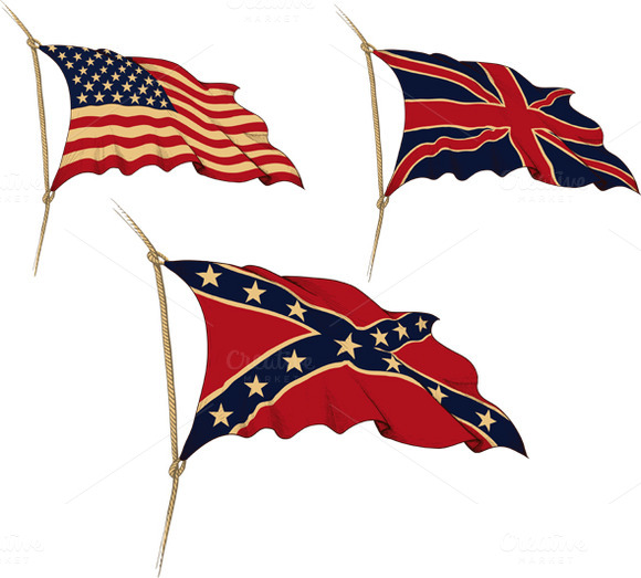Three Waving The Old Flag USA UK