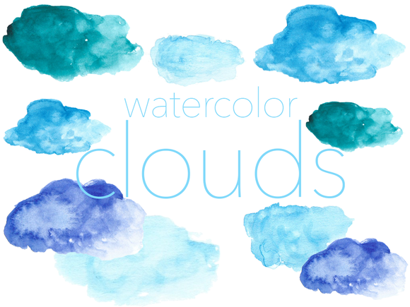Watercolors Clouds Cliparts