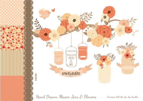 Hand Drawn Mason Jars Flowers Pink