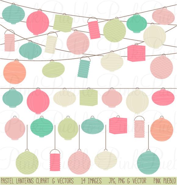 Pastel Paper Hanging Lantern Graphic