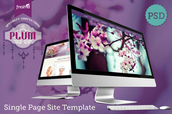 Plum Single Page Site PSD Template