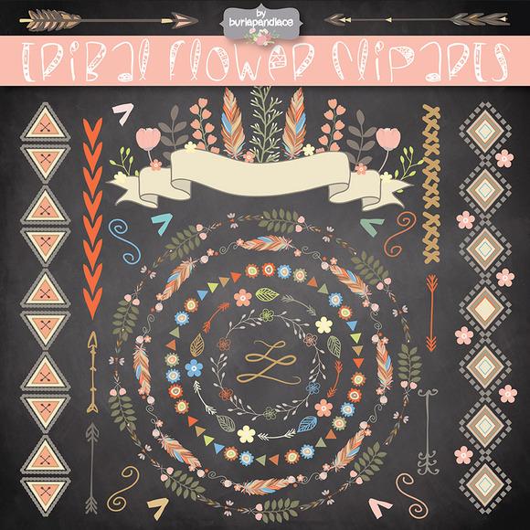 VECTOR Tribal Flower Clipart Pattern