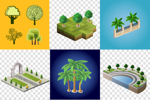 Set Of Images Of Trees