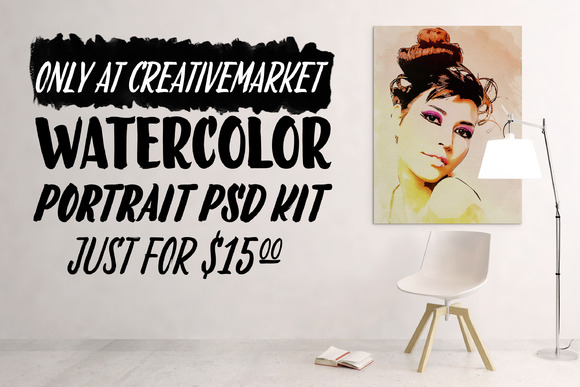 Watercolor Portrait PSD Kit