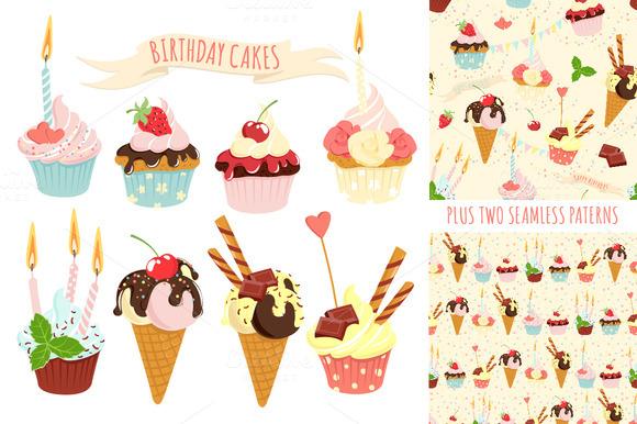 Birthday Cupcakes Icon Set Patterns