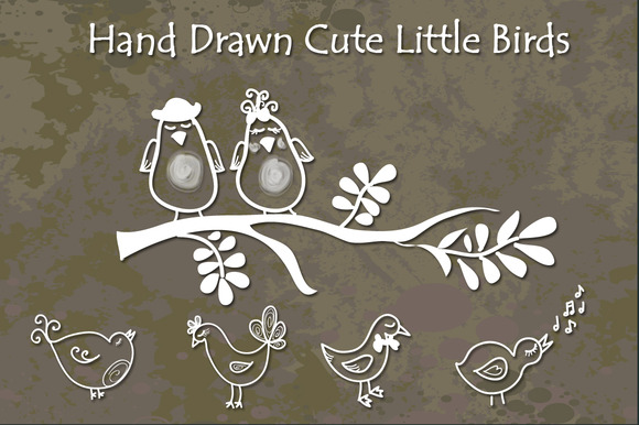 Cute Little Birds Hand Drawn