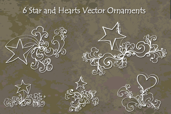 Star And Hearts Hand Drawn Ornaments