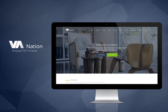 Nation-One Page PSD Template